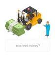 Loader with pile of cash vector image vector image