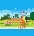 male street cleaner holding broom man sweeping vector image vector image