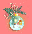 merry christmas ball with countryside romantic vector image vector image