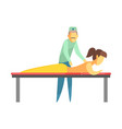 octor examining back of a young woman lying on the vector image vector image