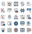 online poker colored concept icons vector image