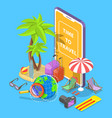 online tour searching flat isometric vector image vector image
