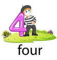 pantomime boy with the 4 balloon number and text vector image vector image