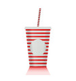 plastic fastfood cup for beverages with straw vector image vector image