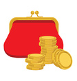Purse and golden coins vector image vector image