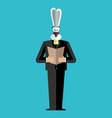 rabbit businessman in suit wild animal people vector image