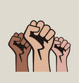 raised three fists vector image