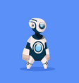 robot cute cyborg isolated on blue background vector image