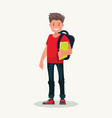 smiling guy is a college student a young male vector image