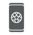 soccer app on smartphone glyph icon application vector image