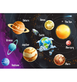 solar system planets horizontal vector image