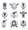 sport labels for basketball club badges vector image vector image