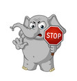 stop sign holds in hands warning displeased vector image