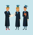 students in robe cartoon vector image vector image
