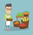 supermarket worker with a box full of apples vector image vector image
