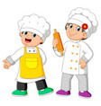 two chef standing and holding rolling pin vector image