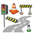 various road objects vector image