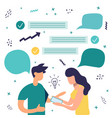 woman and man on phone for teamwork concept vector image