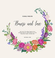 wreath with flowers and herbs vector image