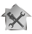 wrench and house repair symbol vector image vector image
