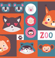 zoo animals collage set of vector image