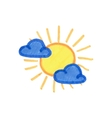 Sun and clouds icon Weather pictogram on the vector image