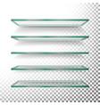 empty glass shelves template set realistic vector image