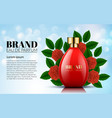 perfume red rose and green leaf bottles vector image