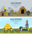 banners set with of mining vector image