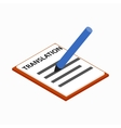 A sheet of paper with the translation icon vector image vector image