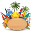 beach concept with wooden board vector image vector image