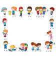 border template with happy children with devices vector image vector image