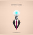businessman symbol with creative light bulb sign vector image vector image