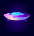 cartoon alien spaceship ufo in cosmos vector image