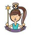 cartoon fairy girl icon vector image vector image
