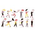 characters walking under umbrella people vector image vector image