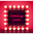 Coming soon concept with makeup mirror vector image vector image