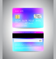 credit cards set with holographic effect vector image vector image