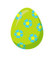 Easter egg with blue flowers isolated