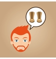 face man bearded clothes leather boots hipster vector image