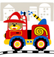 firefighter cartoon on building background vector image vector image