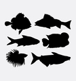 Fish animal silhouette 4 vector image vector image