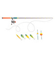 fishing equipment outdoor vacation vector image vector image