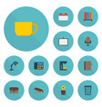 flat icons suitcase espresso machine armchair vector image vector image
