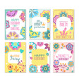 flower card romantic greeting cards with abstract vector image vector image