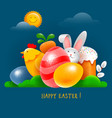 happy easter greeting card with easter symbols vector image