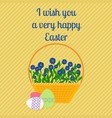 Happy easter yellow greeting card