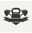 kettlebell and dumbbell with baner logo vector image vector image