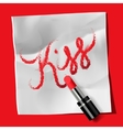 Lipstick and inscription Kiss vector image