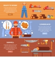 Lumberjack And Sawmill Horizontal Banners Set vector image vector image